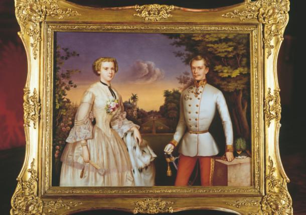 Gemälde mit Elisabeth I. und Franz Joseph  I. in jungen Jahren