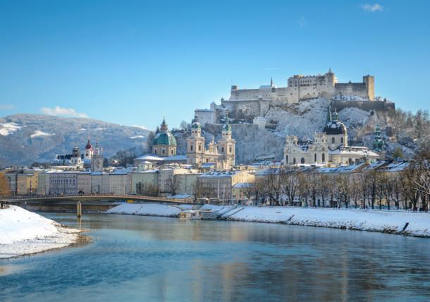 Salzburg Stadt - Blick auf die Festung Hohensalzburg